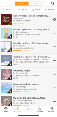 A screenshot of an Audible library showing multiple audiobook titles.
