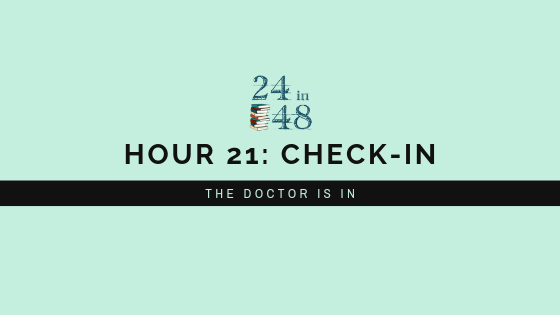 "teal background with 24in48 logo and title, ""Hour 21: Check-In: The Doctor is In"""